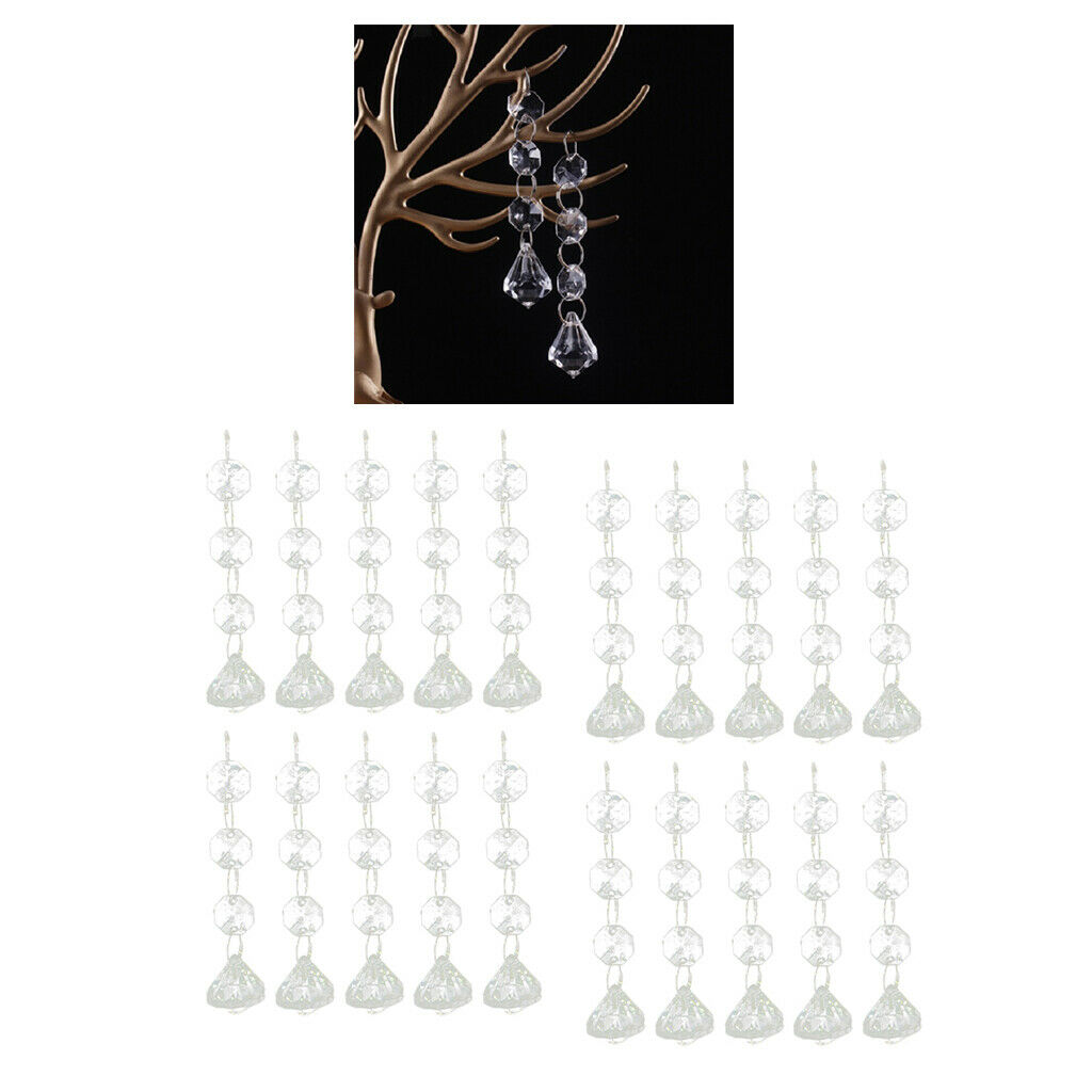 Set of 20 Clear Crystal Pendant Beads Teardrop Christmas Hanging Ornament