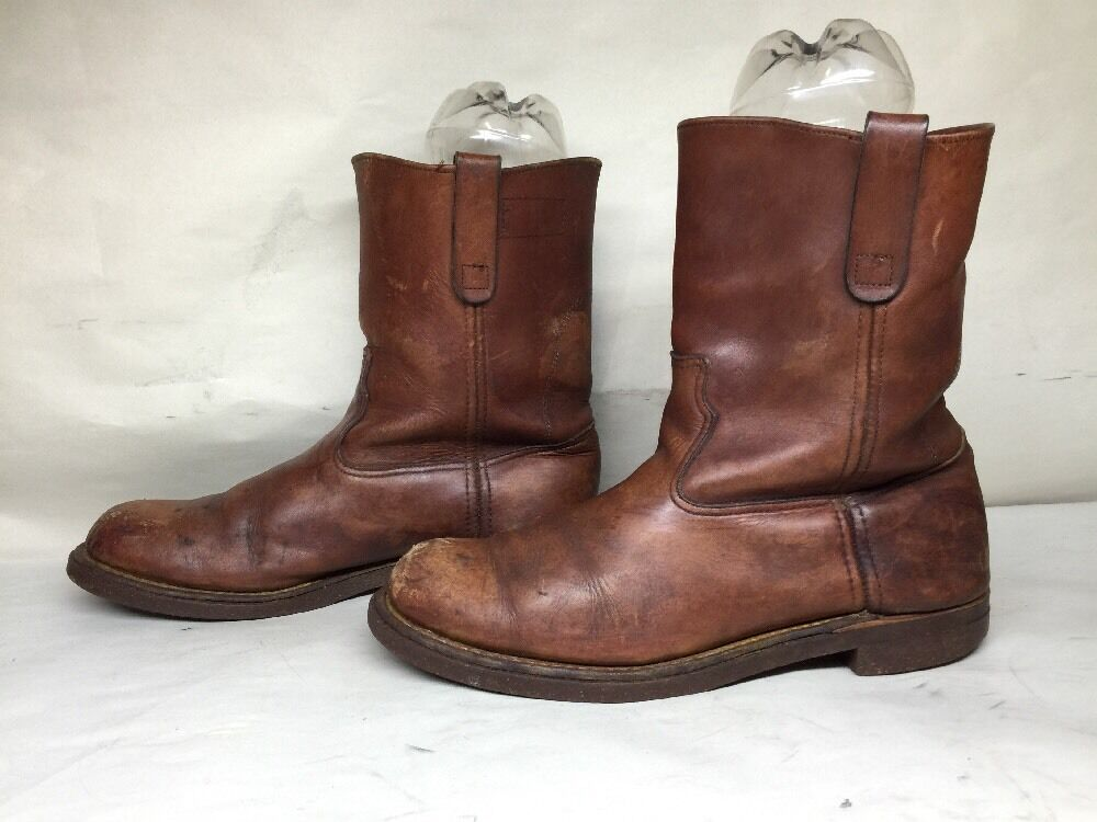 VTG MENS LL BEAN STEEL TOE WORK LEATHER BROWN BOOTS SIZE 10.5 D