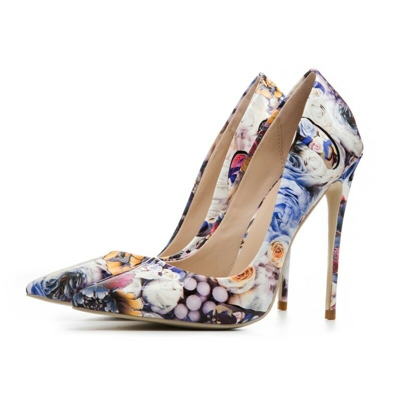 Women Pointy Toe Slip On High Stiletto Heel Floral Pumps Party shoes Fashion Sexy