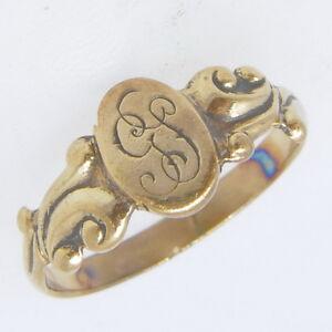 Vintage-Antique-9ct-Rose-Gold-Monogrammed-Childs-Babies-Band-Estate-Ring
