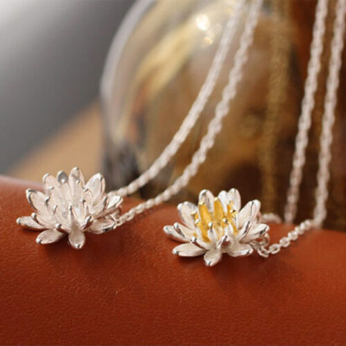 925 Silver Plated Ladies Elegant Flower Short Necklace For Women Jewelry Pendant