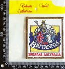 VINTAGE BRITTANIA BRISBANE EMBROIDERED SOUVENIR PATCH WOVEN CLOTH SEW-ON BADGE
