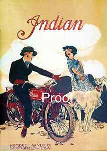 Indian Motorcycle Vintage Advertising Antique Ad Poster 1916