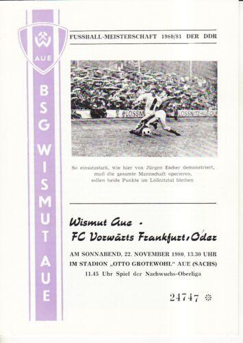 FC Vorwärts Frankfurt//O. OL 80//81 BSG Wismut Aue