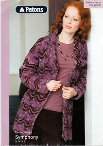 a365aebc0c72d9 Image is loading Patons-Symphony-Crochet-Pattern-for-Chevron-Jacket-3479