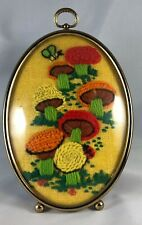 Vintage '70s Mushroom  Handmade Needlepoint Matted And Framed Art