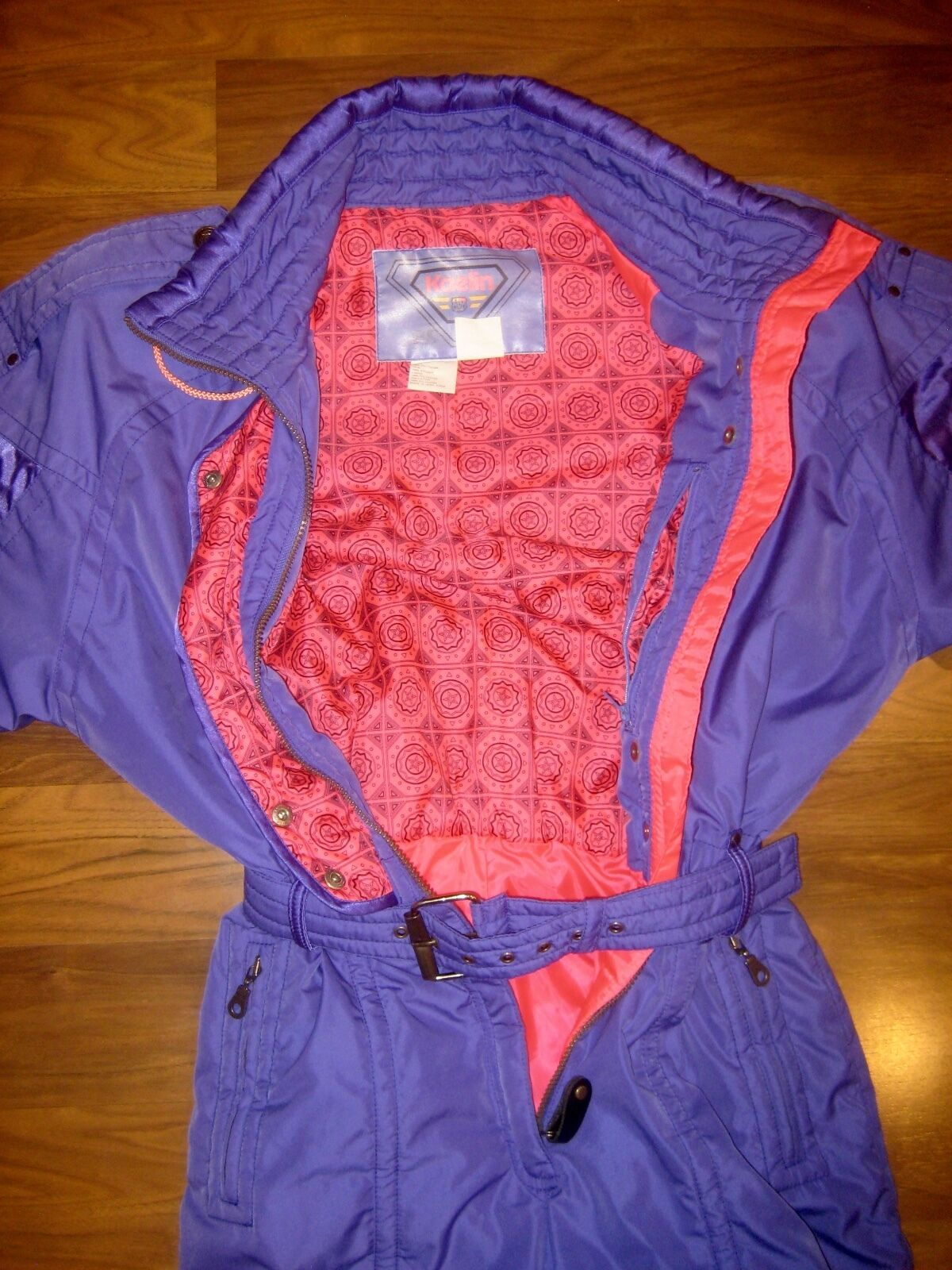 Vtg 80s KAELIN Purple WOMENS 10 One piece SKI SUIT Snow bib Snowsuit Gaper Apres