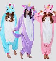 Adult Unisex Animal Onesie Cosplay Costume Unicorn Pony Kigurumi Pajamas Xma