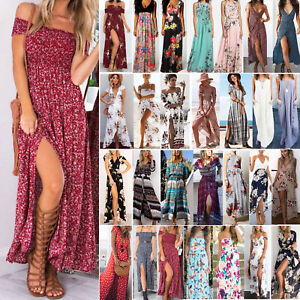 Womens-Maxi-Boho-Floral-Summer-Beach-Long-Dress-Evening-Party-Skirt-Sundress-UK