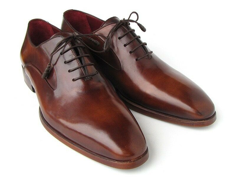 Paul Parkman Men's Plain Toe Brown Calfskin Oxfords Handmade shoes