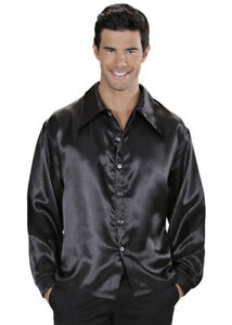 Details about Mens 70s Disco Costume Black Satin Shirt Fancy Dress Saturday Fever Outfit NEW