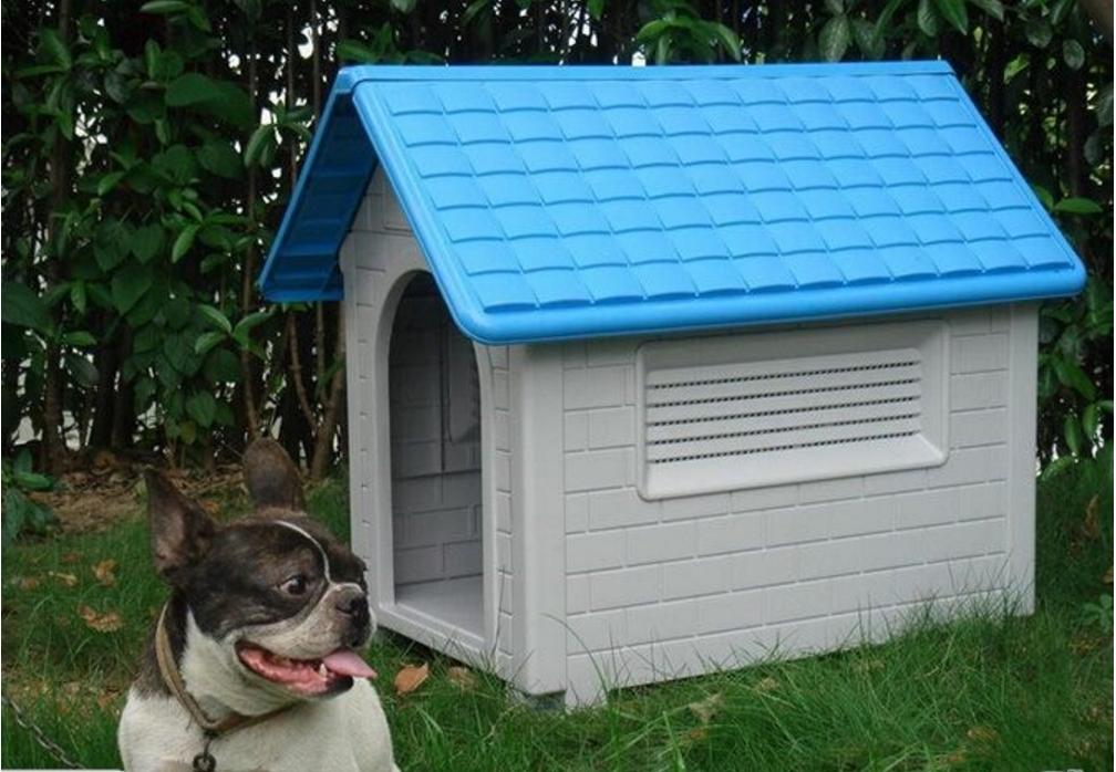 DURABLE DOG HOUSE KENENL - LARGE  blu   RED
