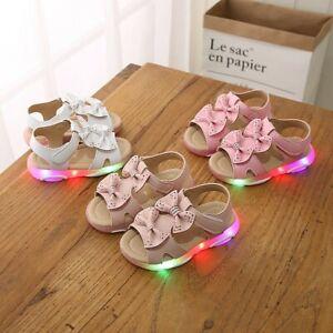 Children-Kids-Baby-Girls-Bowknot-Led-Light-Luminous-Sport-Sandals-Sneaker-Shoes