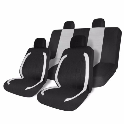 8pcs Black White Universal Fit Car Seat Covers Set for Auto Full Set Protector