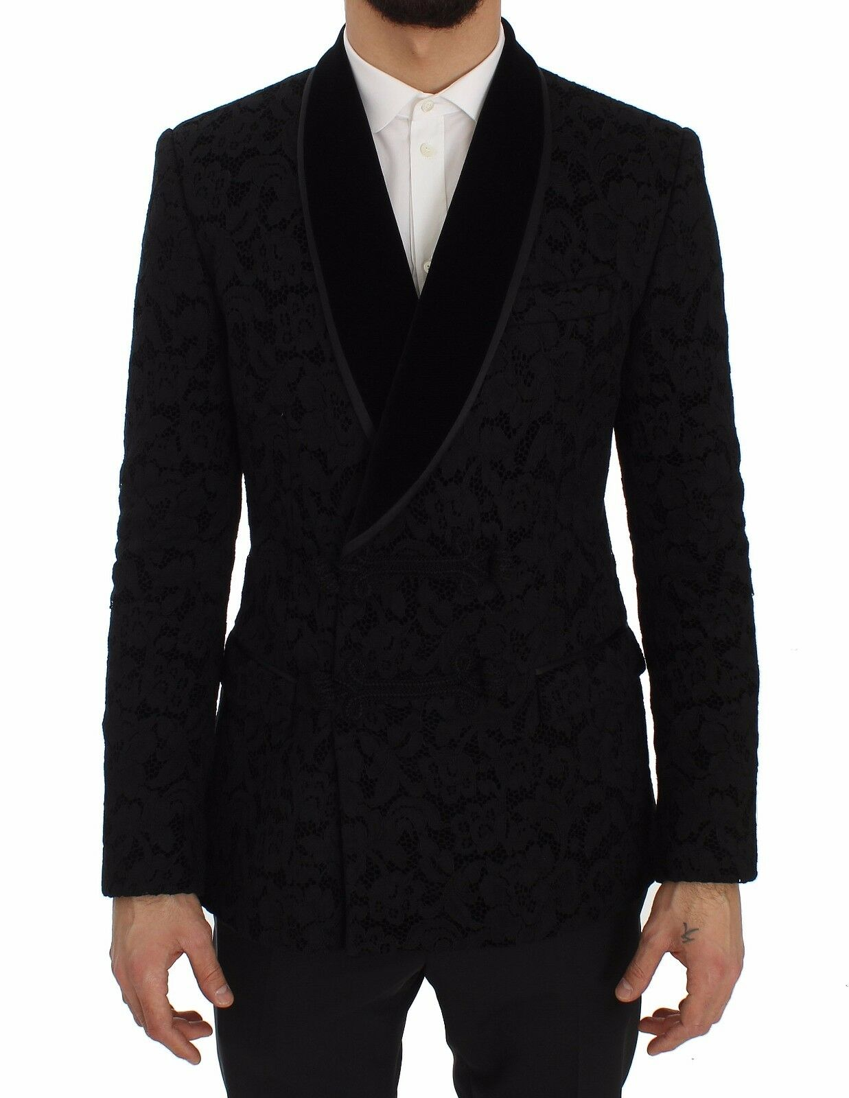 Nuevo Dolce & Gabbana Chaqueta Americana Negro Floral Ricamo Slim Ricamo/ It46/S