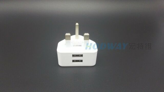 2A USB AC UK  WALL PLUG DOUBLE CHARGER ADAPTER FOR iPhone 6 6s SAMSUNG HTC WHITE
