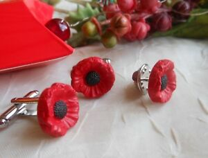 Set of RED POPPY FLOWER Cufflinks & Lapel Tie Pin Badge *Handmade* + Gift Box