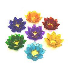 Beautiful Large Lotus Flower Chakra Rainbow Tea Light Candle Holder Set