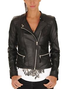 Slim Motorcycle Women Outerwear Fit Black Biker S Leather Jacket 194 Lambskin wqqxp6aY