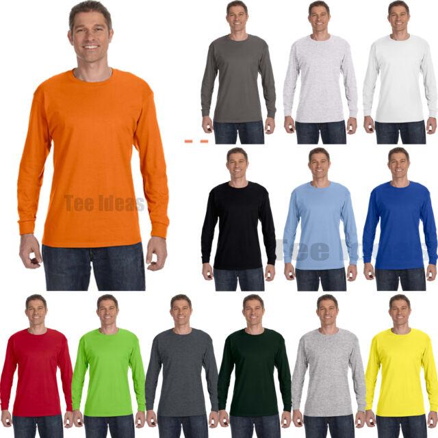 ss Hanes Men/'s Cotton Blank Tagless Long Sleeve T Shirt 5586 S-3xl   B3G1
