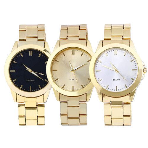 Fashion Unisex Quartz Watch Analog Golden Strap Round Dial Men's Women's Jewelly