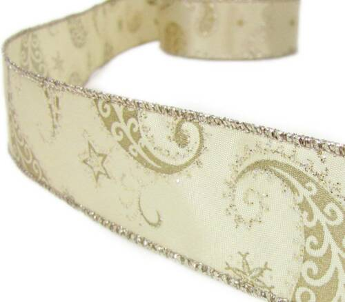 "5 Yds Ivory Gold Glitter Paisley Wired Ribbon 1 1//2/""W"