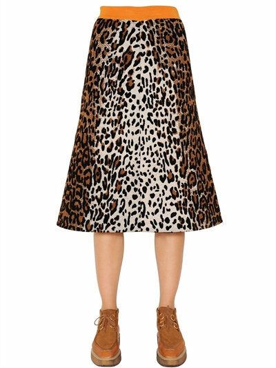 1225 Authentic STELLA MCCARTNEY Women's Leopard Print Jacquard Knit Slim Skirt