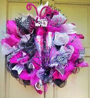 Years Celebration Deco Mesh Wreath Handmade Pink Black Party Door Decor