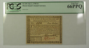July-2nd-1780-4-Rhode-Island-Colonial-Currency-Note-PCGS-66PPQ-RI-285