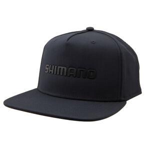 SHIMANO-LOGO-WELDED-SNAPBACK-FLATBILL-FISHING-CAP-HAT-MENS-OSFM-BLACK