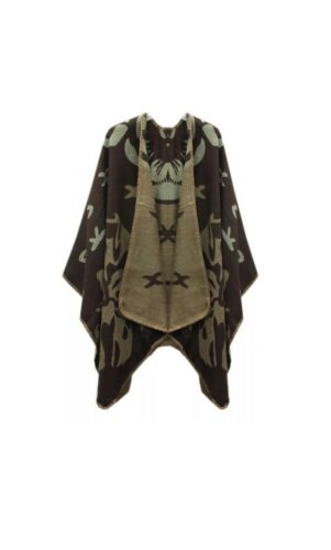 Women Ladies New Cross Pattern Wool Wrap//Shawl//Poncho//Cape//Cardigan 8-20