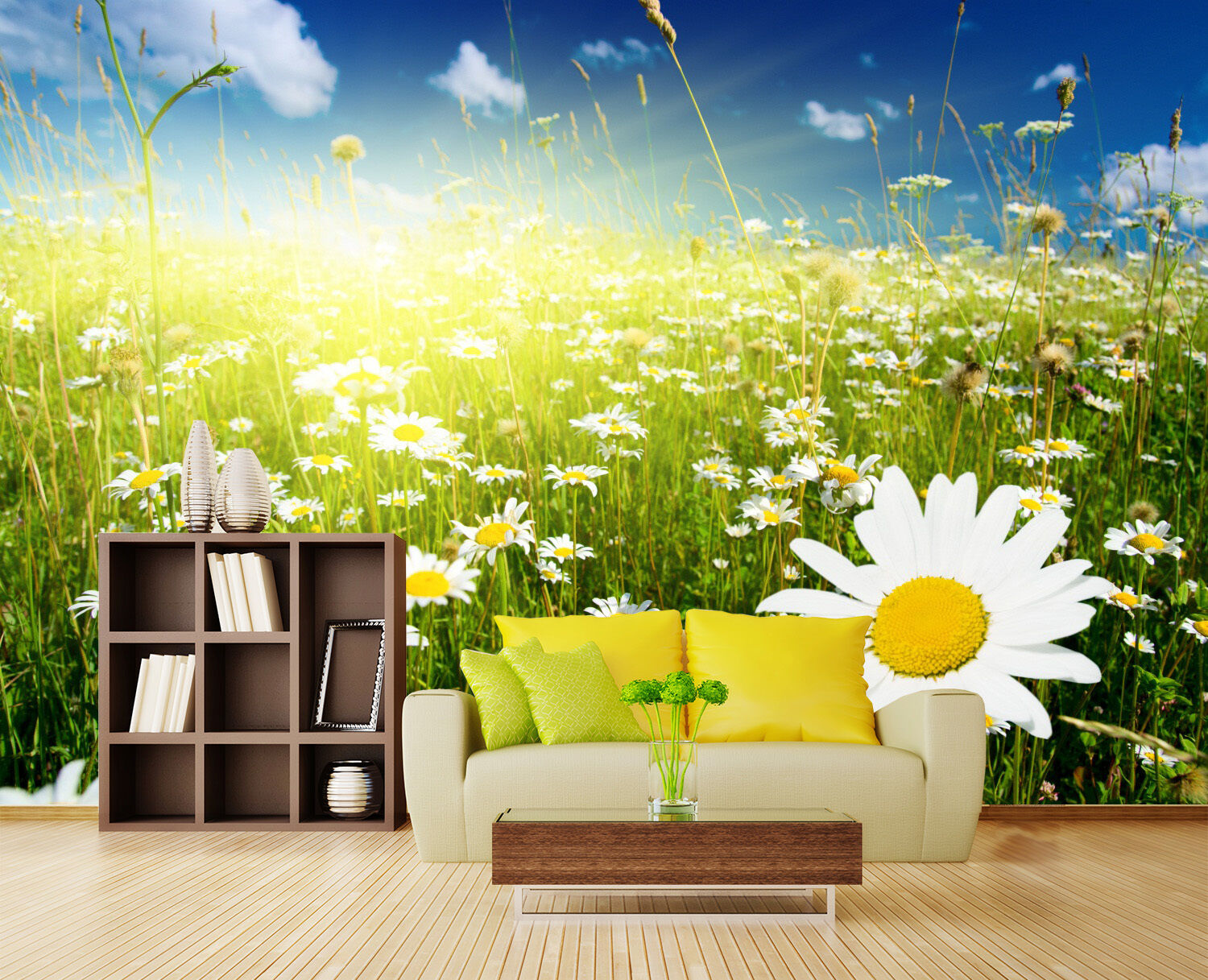 3D Grass flowers sky 356 Wall Paper Print Wall Decal Deco Indoor Wall Murals