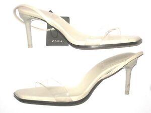 0a511f94d62 Details about Zara Sandal Heel Talon Beige Clear Strap Womens Size 6.5