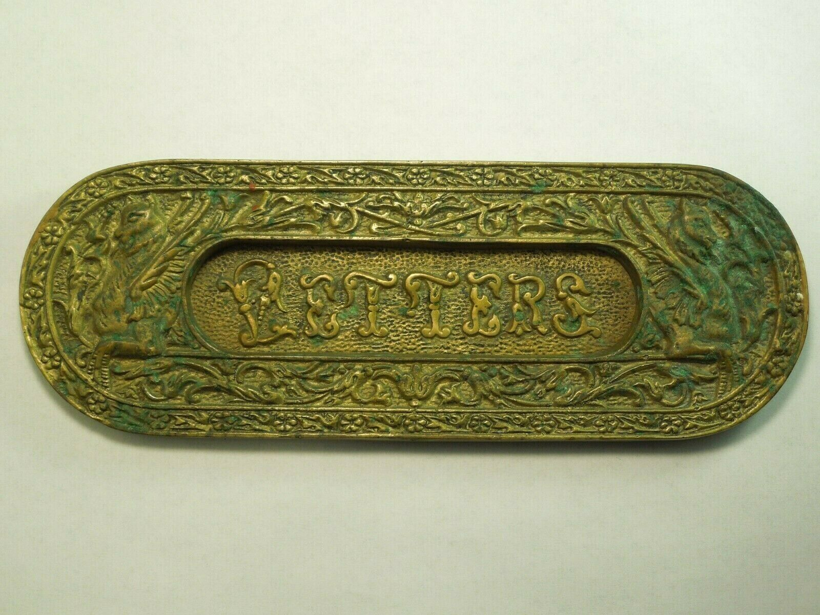 Antique Ornate Brass Letter Mail Door Slot W  Dragon Pegasus Creature Art