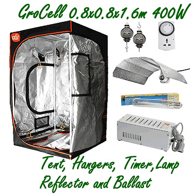 HANGERS TIMER GROCELL 0.8x0.8x1.6m GROW TENT 400W HPS LAMP BALLAST REFLECTOR