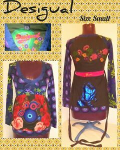 DESIGUAL-Sz-Small-Tie-Back-Tunic-w-Bottom-Band-Long-Slv-Abstract-Art-to-Wear