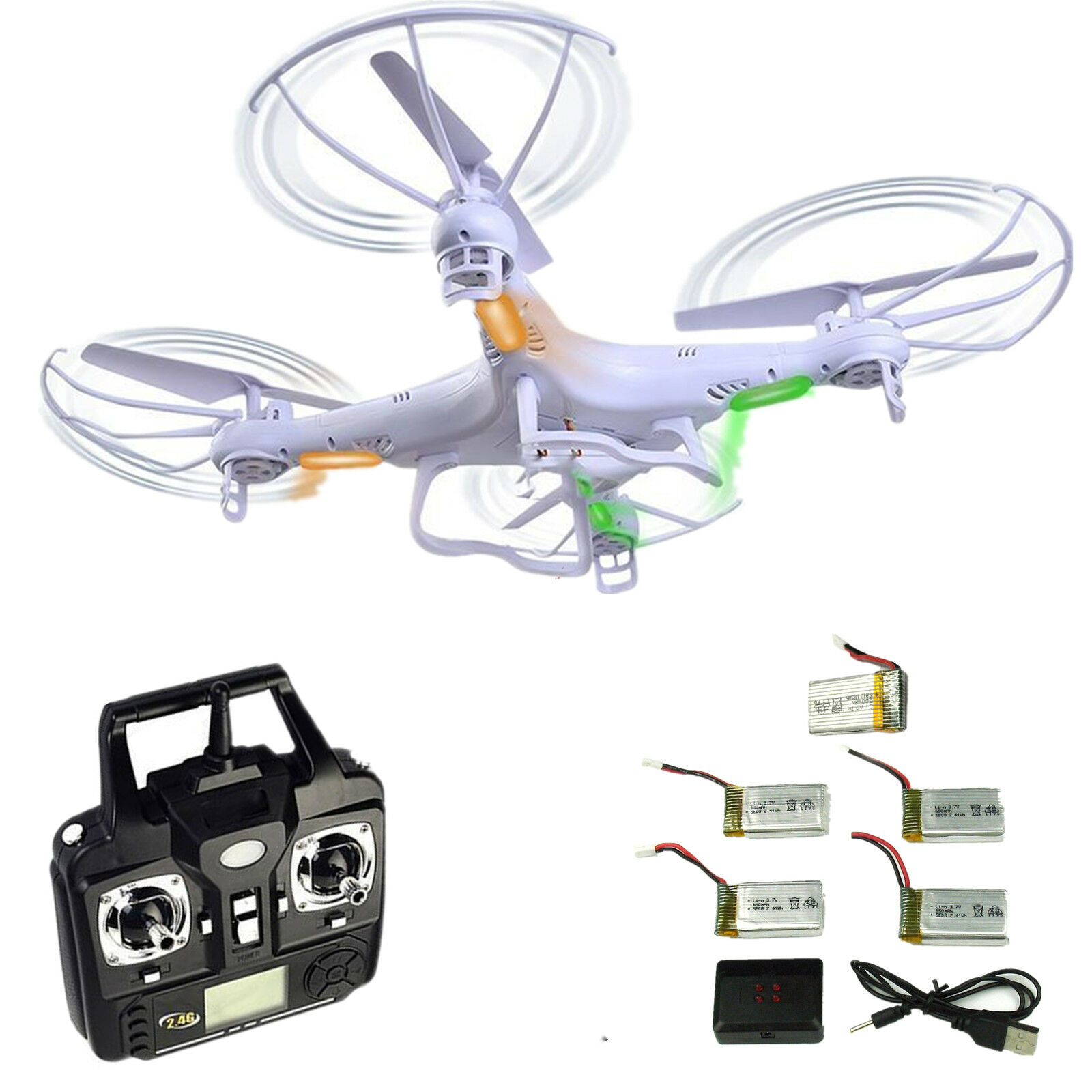 5 batterien syma x5c-1 entdecker 2.4g 4ch 6axis - rc quadcopter drohne uav - rtf