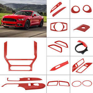 12x Full Car Interior Accessories Decoration Trim For 15-19 Ford Mustang Red