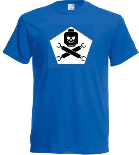 Evil Lego Head Skull and Crossbone parody funny T Shirt Adult Unisex Men Ladies