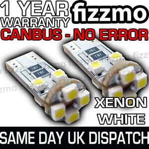 2x-8-SMD-LED-501-T10-W5W-WEDGE-CANBUS-NO-ERROR-FREE-XENON-WHITE-SIDE-LIGHT-BULB