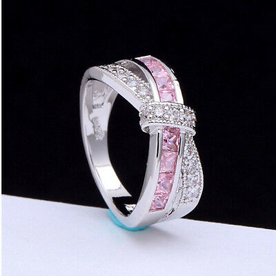 Pink Amethyst & CZ Criss Cross Ring Band Black Gold Filled Jewelry Size 6-10