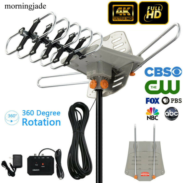 Leadzm 150 Miles Outdoor Amplified HD TV Antenna High Gain 20±3dB UHF//VHF//FM