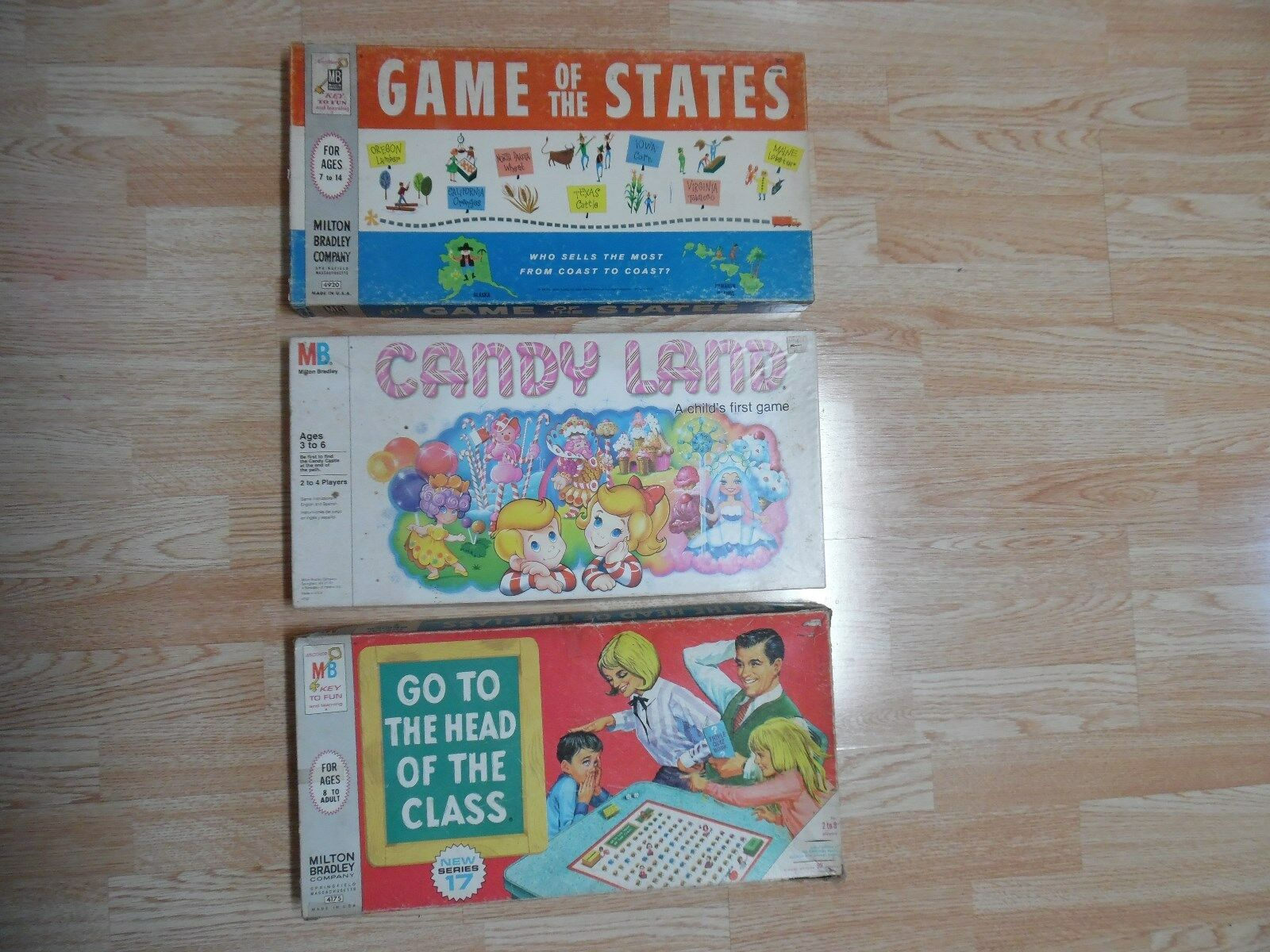 3 Vtg MB Candy Land Game of the States Go to the Head of the Class Board
