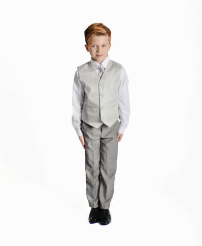 Boys Suits Swirl Waistcoat Suits Wedding 4 Piece Baby Boys Page Boy Party Formal