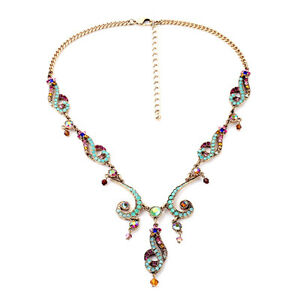 Collar-Semilargo-Cristal-Multicolor-Azul-Verde-Retro-Matrimonio-Original-Epoca
