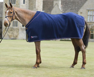 British Eventing Horse Show Rug Navy Travel Sweat Cooler Fleece 4 Foot 6 4'6