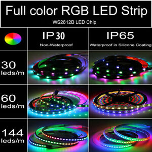 5V-5050-WS2812B-RGB-LED-Strip-1-5M-30-60-144-150-300-Leds-Individual-Addressable