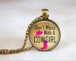 3367847a46d Details about Cowboy Boot Don't Mess With A Cowgirl Glass Cabochon Bronze  chain Necklace