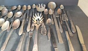 Lot-of-40-Vintage-Silverware-Forks-Knife-Spoons-Some-Silver-Plate-misc