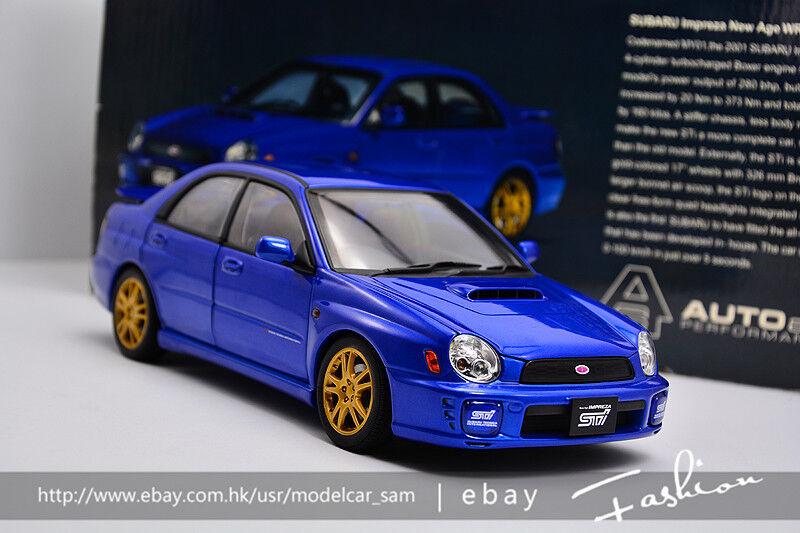 Autoart 1 18 subaru STI 7 bleu